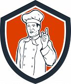 Chef Cook Baker Pointing Up Shield