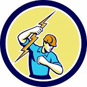 Electrician Holding Lightning Bolt Side Circle