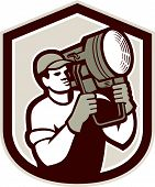 Electrical Lighting Technician Carry Spotlight Shield