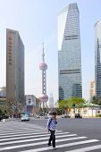 SHANGHAI, CHINA - APRIL 8, 2014: Oriental Pearl Tower and buildings of Pudong New Area