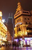 SHANGHAI, CHINA - APRIL 12, 2014: Famous pedestrian Nanjing Road at night