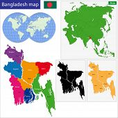 Map of People's Republic of Bangladesh with the provinces colored in bright colors