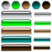 Web buttons in assorted shiny colors and shapes