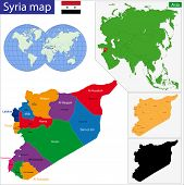 Syria map designed in illustration with regions colored in bright colors