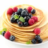 Pancakes with fruits and honey