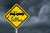 image of ban  - No Texting While Driving Sign Yellow warning sign with words No Texting and accident icon with stormy sky background - JPG
