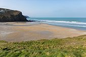 Porthtowan beach near Cornwall England UK a popular tourist destination