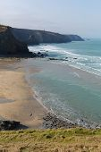 Porthtowan beach near St Agnes Cornwall England UK a popular tourist destination