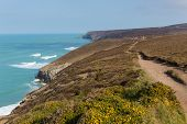 South West Coast Path near Porthtowan and St Agnes Cornwall England UK a popular tourist destination