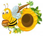 foto of beehives  - Illustration of a bee holding a pot of honey near the beehive on a white background - JPG