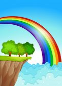 Illustration of a beautiful rainbow in the sky