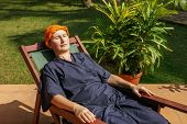 foto of ayurveda  - woman has a rest after an ayurveda - JPG