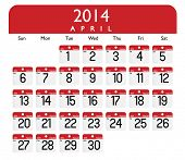Vector of a calender of April of 2014.