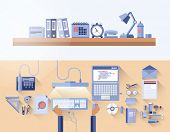 Digitally generated overhead of messy desk in office