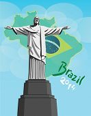 Christ the redeemer statue with brazil flag vector