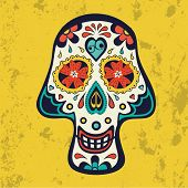 Sugar skull on grunge background