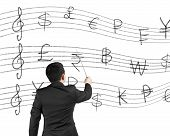 Businessman As A Conductor Facing Money Stave