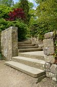 Stone steps in a formal garden.