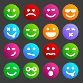 pic of angry smiley  - Flat and round smiley icons for your design - JPG