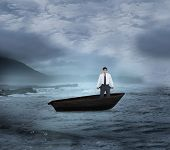 Composite image of sad tradesman showing his empty pockets in a sailboat on open water