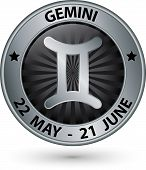 pic of gemini  - Gemini zodiac silver sign gemini symbol vector illustration - JPG