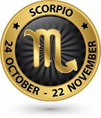 Scorpio Zodiac Gold Sign, Virgo Symbol Vector Illustration