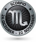 Scorpio Zodiac Silver Sign, Virgo Symbol Vector Illustration