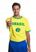 Laughing Brazilian Soccer Fan Showing Thumb Up