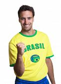 Cheering Guy With Brazilian Jersey