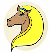 Vector Line Illustration Of A Blondy Horse - The Symbol Of 2014