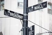 stock photo of broadway  - Wall street and broadway sign in New York - JPG