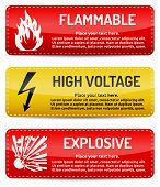 Flammable, High Voltage, Explosive - Danger Sign Set