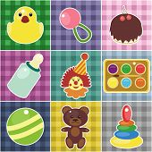 scrapbook objects for baby on checked fabrics