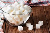 foto of sugar cube  - White cubes sugar close - JPG