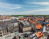 Aerial view of Munich - Marienplatz and Altes Rathaus, Bavaria, Germany