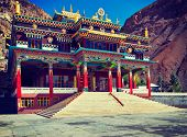 Vintage retro effect filtered hipster style travel image of Buddhist monastery in Kaza. Spiti Valley