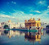 stock photo of gurudwara  - Vintage retro effect filtered hipster style travel image of Sikh gurdwara Golden Temple  - JPG