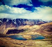 stock photo of himachal  - Vintage retro effect filtered hipster style travel image of mountain lakes in Spiti Valley in Himalayas - JPG