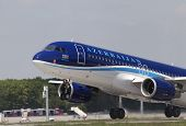 Departing Azerbaijan Airlines Airbus A320-200 aircraft