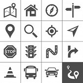 Route planning and transportation icon set. Maps, location and navigation icons. Vector illustration