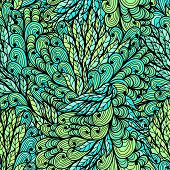 Floral Green Hand Drawn Pattern