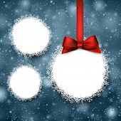 Paper christmas ball over snowy background. Vector illustration.