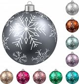 Colorful christmas balls on white surface. Set of isolated realistic decorations. Vector illustration.