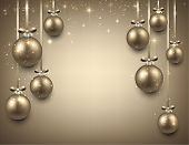 Abstract background with golden christmas balls. Vector illustration.