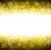 Golden winter abstract background. Christmas background with snowflakes. Vector.