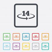 Return of goods within 14 days sign icon.