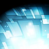 Blue squares tech abstract background. Vector design