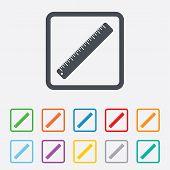 Ruler sign icon. School tool symbol.