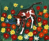 stock photo of fidget  - calf among flowers - JPG