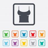Women T-shirt sign icon. Intimates and sleeps.